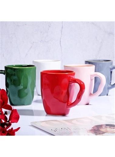 Keremika Keramika Seramik Renkli Metalik Altın Bantlı Kupa 10 Cm Renkli